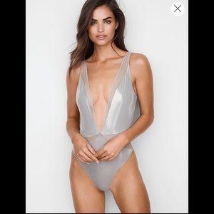 Victoria's Secret Silver Metallic Bodysuit
